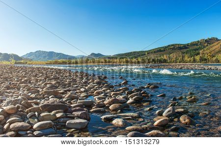 Fast mountain river in Altay, Siberia, Russia