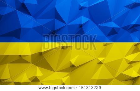 Low poly illustrated Ukraine flag. 3d rendering.