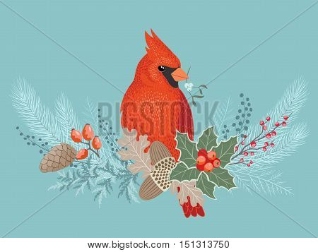 Cardinal bird on floral frosty Christmas decoration.