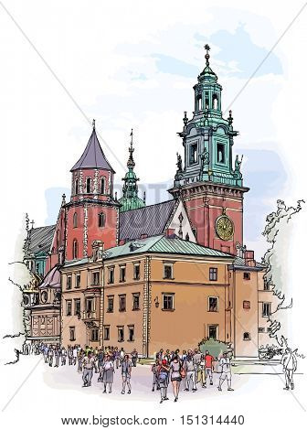 Krakow. Poland. The Wawel Cathedral, Katedra Wawelska in Polish, was the coronation site of Polish monarchs and remains Poland's most important national sanctuary.