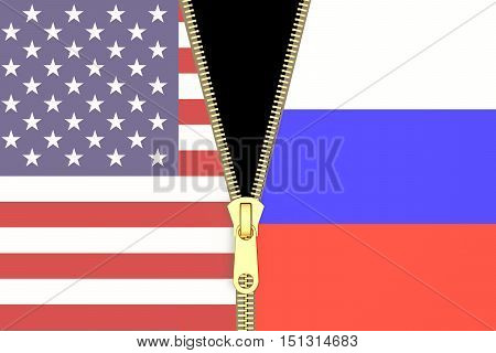 Relation from Russia and USA political concept. 3D rendering