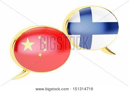 Speech bubbles Chinese-Finnish conversation concept. 3D rendering isolated on white background