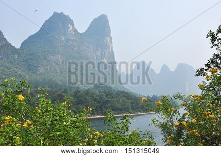 Lijiang river and karst mountains scenery in morning
