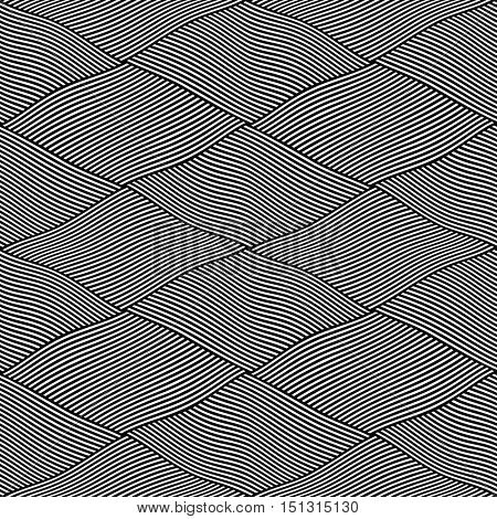 Seamless interweaving lines pattern. Vector art.