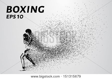 The Boxing of the particles. A boxer trains and coming out of it little point.