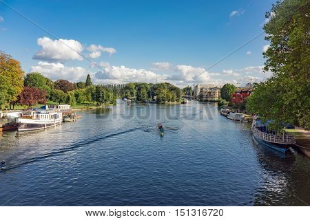 The River Thames at Reading in Berkshire on a warm late summer's afternoon.