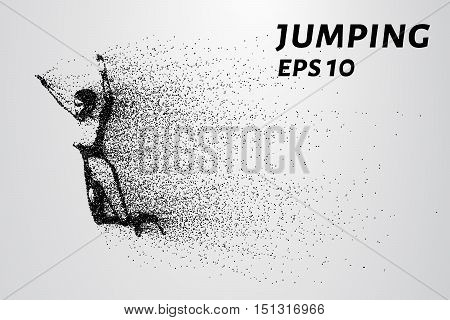 Jump from the particles. The girl jumps in length consists of small dots.