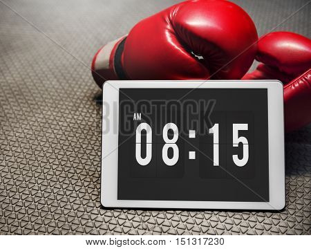 Boxing Glove Digital Tablet Morning Alarm Training Concept
