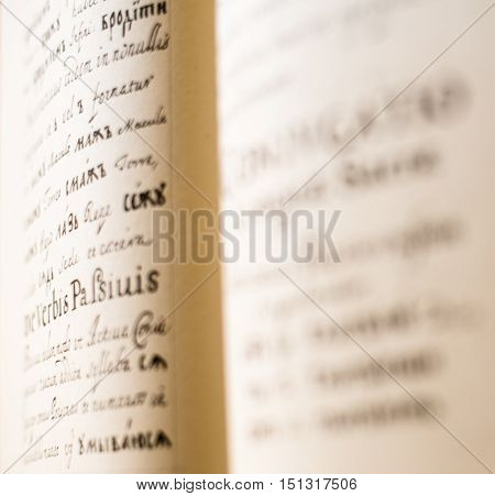 The Old Slavonic Grammar. Open book. Close up.