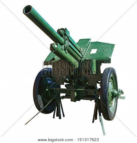 Soviet howitzer of the Second World War. Front view isolated on white background