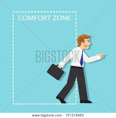 businessman resolutely out of the comfort zone