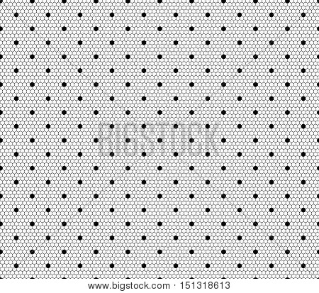 Vector lace pattern. Seamless dot background on geometric hexagon ornament. Dotted black and white illustration. Decorative fabric print, furniture textile. Fine design. Elegant tulle outfit element.