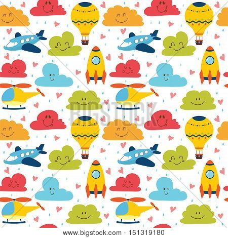 Cute children seamless pattern with plane helicopter hot air balloon spaceship and clouds. Vector illustration