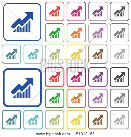 Set of rising graph flat rounded square framed color icons on white background. Thin and thick versions included.