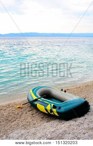 Inflatable Blue Boat With Peddles