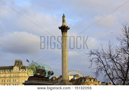 View Of Trafalgar Square, In London With Monuments