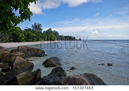 The Severe Beach At La Digue Island, Seychelles