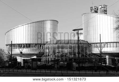 STRASBOURG FRANCE - JAN 28 2014: European Court of Human Rights in Strasbourg with empty tramway station
