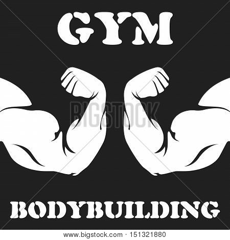 Gym and bodybuilding emblem with hand biceps