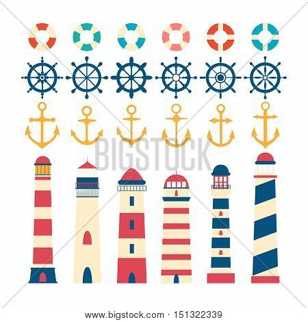 Nautical set. Steering wheel lighthouse anchor and lifebuoy. Nautical elements in flat style. Vector illustration