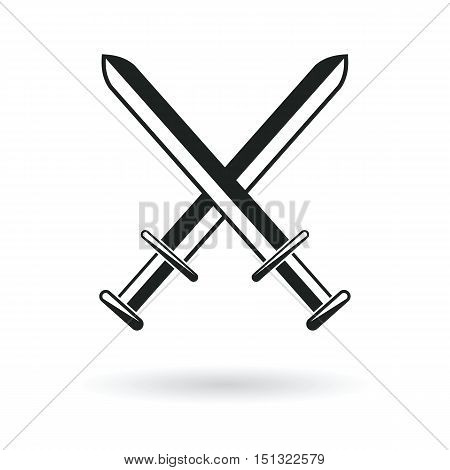 crossed swords arm protection security symbol abstract vector illustration
