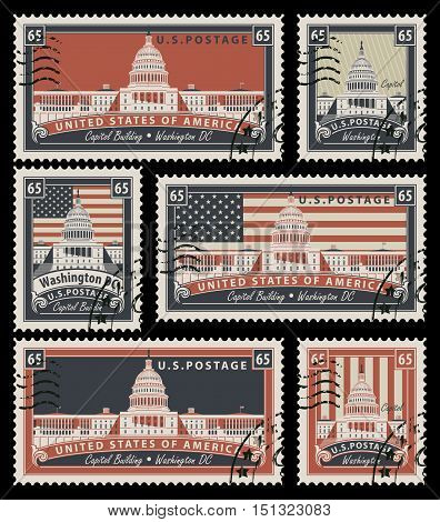set of stamps with the image of the US Capitol in Washington DC