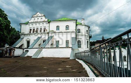 white old house in Kyiv Pechersk Lavra yard, Ukraine