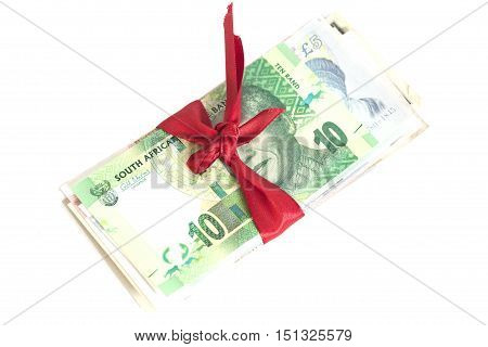 Gift of money isolated on white background