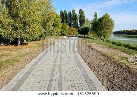 The bicycle way near river Bila Tserkva Ukraine