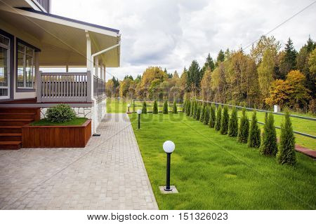 Porch, Rural two storey house, autumn outdoors