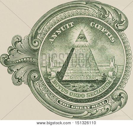 Great seal - US one dollar bill closeup macro 1 usd banknote