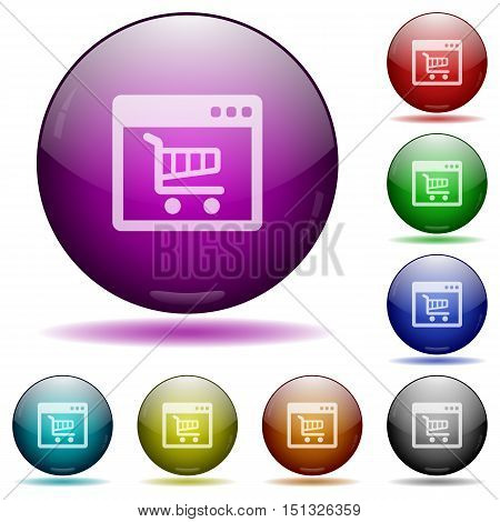 Set of color Web shop application glass sphere buttons with shadows.