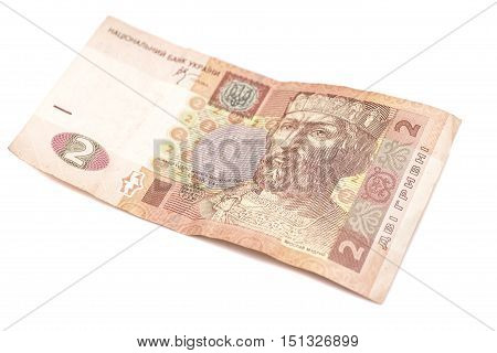 Ukrainian Hryvnia. 2 hryvni isolated on white