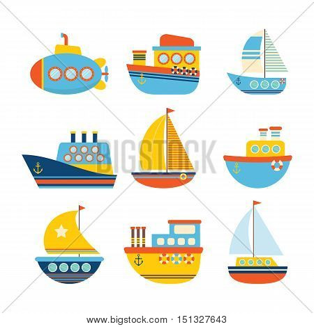 Set of sea transport. Different kind of boats. Fishing boats yachts and sailboats. Vector illustration