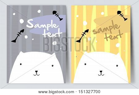 Pretty white cat. Simple vector drawing in two variations.