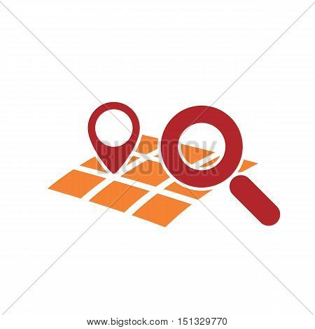 map gps geo mark with magnifying glass symbol as searching for geo location icon abstract vector illustration isolated on white
