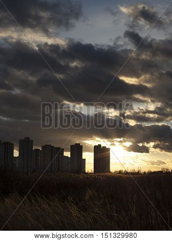 Urban landscape. Silhouettes of Kyiv (Ukraine) high-rise buildings
