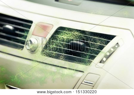 Concept of dirty air coming out from car ventilation system