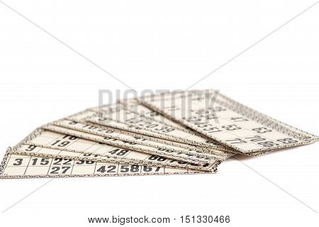 Cards for Russian lotto (bingo game) isolated on white background