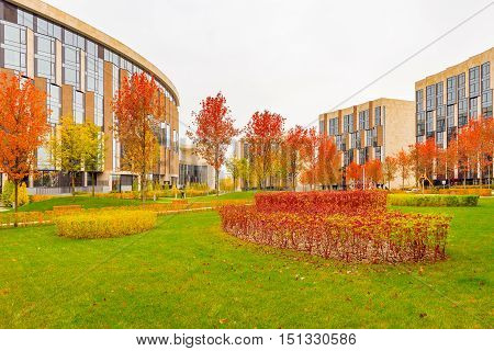 Moscow Russian Federation October 06 2016: Park between prestige apartment houses in Skolkovo park.