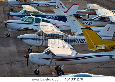 SANTA MONICA, CALIFORNIA - OCT 07, 2016: aircraft parking at Santa Monica Airport in Santa Monica, California USA.