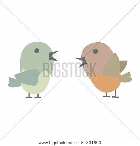 Cartoon cute bird on white background. Pink cute bird vector. Bird animal cartoon colorful design. Nature character animal