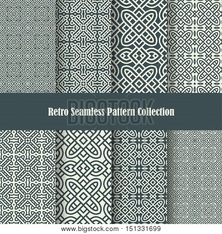 retro backgrounds with celtic knot ornament seamless patterns collection for wallpaper and backdrops