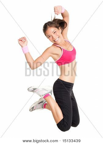 Gewicht-Verlust-Fitness-Frau springen