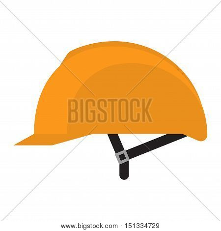 Yellow helmet isolated on white background Yellow safety helmet on white background. Head protection hard hat isolated on white. Head helmet protection