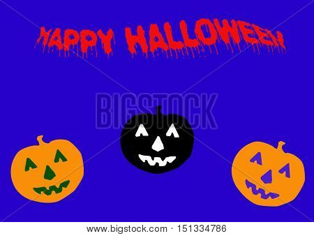 Halloween Greeting with Scary Pumpkins on Blue