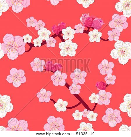 Seamless Pattern Of Japanese Flowering Cherry Tree Branches With Buds On A Pink Background. Vector I