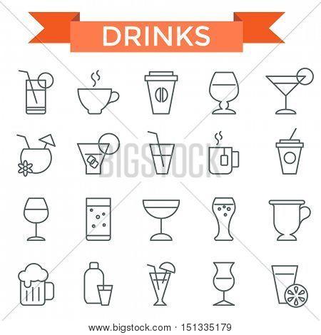 Drink icon set, thin line, flat design