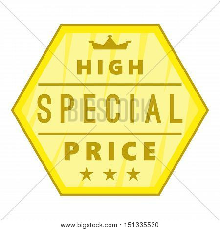 High special price label icon. Cartoon illustration of high special price label vector icon for web