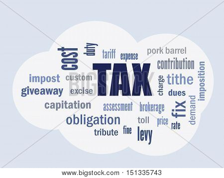 tax related terms and definitions on cloud symbol vector abstract illustration